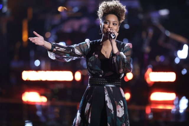 "THE VOICE -- ""Live Playoffs"" Episode 1414B -- Pictured: Spensha Baker -- (Photo by: Tyler Golden/NBC)"