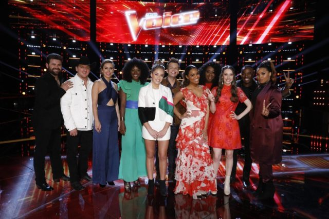 "THE VOICE -- ""Live Top 12"" Episode 1415B -- Pictured: (l-r) Pryor Baird, Kaleb Lee, Jackie Foster, Christiana Danielle, Brynn Cartelli, Britton Buchanan, Spensha Baker, Kyla Jade, Jackie Verna, Rayshun Lamarr, Sharane Calister -- (Photo by: Trae Patton/NBC)"