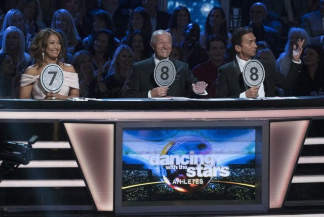 "DANCING WITH THE STARS: ATHLETES - ""Episode 2601"" - Sports fans rejoice as one of the most competitive seasons of ""Dancing with the Stars"" ever fires up the scoreboard and welcomes 10 determined athletes who will take to the ballroom floor for their first dance, on the season premiere of ""Dancing with the Stars: Athletes,"" MONDAY, APRIL 30 (8:00-10:01 p.m. EDT), on The ABC Television Network. (ABC/Kelsey McNeal) CARRIE ANN INABA, LEN GOODMAN, BRUNO TONIOLI"