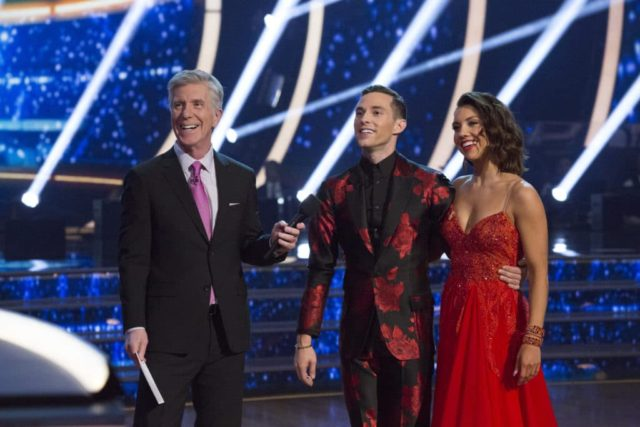 """DANCING WITH THE STARS: ATHLETES - """"Episode 2602"""" - The eight remaining athletes have amped up their training sessions as they prepare to head into week two with a double-header dance bill, on """"Dancing with the Stars: Athletes,"""" MONDAY, MAY 7 (8:00-10:01 p.m. EDT), on The ABC Television Network. (ABC/Kelsey McNeal) TOM BERGERON, ADAM RIPPON, JENNA JOHNSON"""
