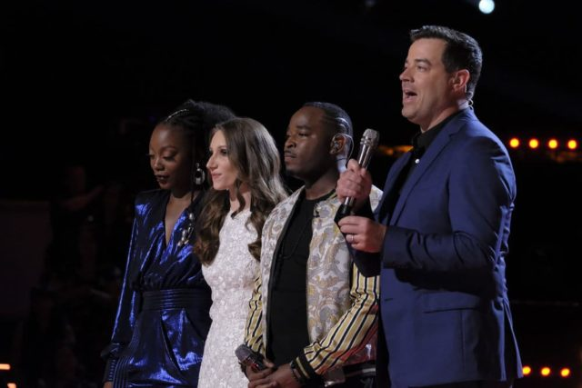 "THE VOICE -- ""Live Top 10"" Episode 1417B -- Pictured: (l-r) Christiana Danielle, Jackie Verna, Rayshun Lamar, Carson Daly -- (Photo by: Trae Patton/NBC)"