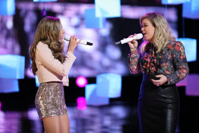 "THE VOICE -- ""Live Finale"" Episode 1419A -- Pictured: (l-r) Brynn Cartelli, Kelly Clarkson -- (Photo by: Tyler Golden/NBC)"