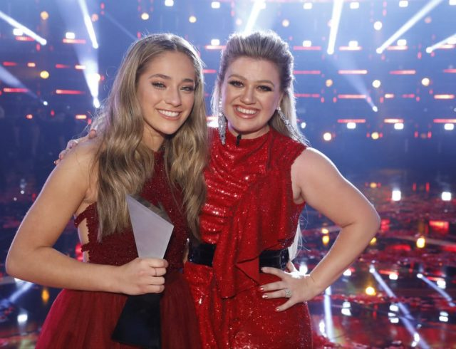 "THE VOICE -- ""Live Finale"" Episode 1419B -- Pictured: (l-r) Brynn Cartelli, Kelly Clarkson -- (Photo by: Trae Patton/NBC)"