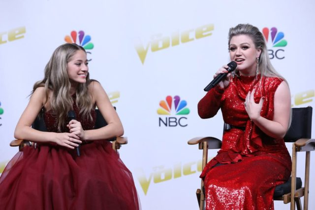 "THE VOICE -- ""Live Finale"" Episode 1419B -- Pictured: (l-r) Brynn Cartelli, Kelly Clarkson -- (Photo by: Tyler Golden/NBC)"