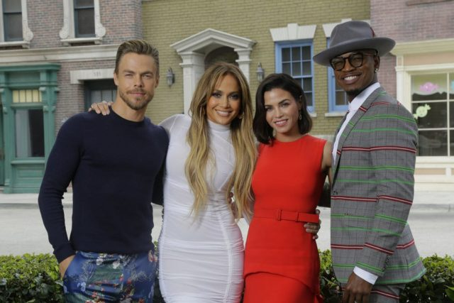 "NBCUNIVERSAL EVENTS -- 2018 Summer Press Day -- Pictured: (l-r) Derek Hough, Jennifer Lopez, Jenna Dewan, NE-YO, NBC's ""World of Dance"" -- (Photo by: Paul Drinkwater/NBCUniversal)"