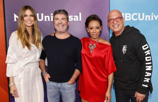 "NBCUNIVERSAL EVENTS -- 2018 Summer Press Day -- Pictured: (l-r) Heidi Klum, Simon Cowell, Mel B, Howie Mandel, NBC's ""America's Got Talent"" -- (Photo by: Evans Vestal Ward/NBCUniversal)"