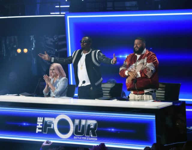 """THE FOUR: BATTLE FOR STARDOM: L-R: Meghan Trainor, Sean """"Diddy"""" Combs and DJ Khaled in the """"Week One"""" season premiere episode of THE FOUR: BATTLE FOR STARDOM airing Thursday, June 7 (8:00-10:00 PM ET/PT) on FOX. CR: Ray Mickshaw / FOX. © 2018 FOX Broadcasting Co."""