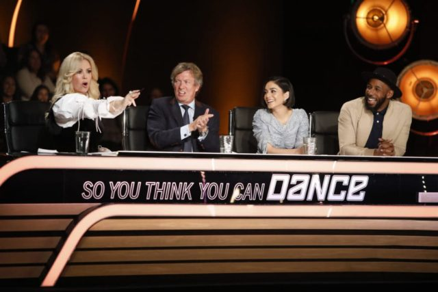 SO YOU THINK YOU CAN DANCE: Pictured L-R: Mary Murphy, Nigel Lythgoe, Vanessa Hudgens and Twitch Boss judge the competition at the Los Angeles auditions for SO YOU THINK YOU CAN DANCE airing Monday, June 11 (8:00-9:00 PM ET/PT) on FOX. ©2018 Fox Broadcasting Co. CR: Adam Rose/FOX