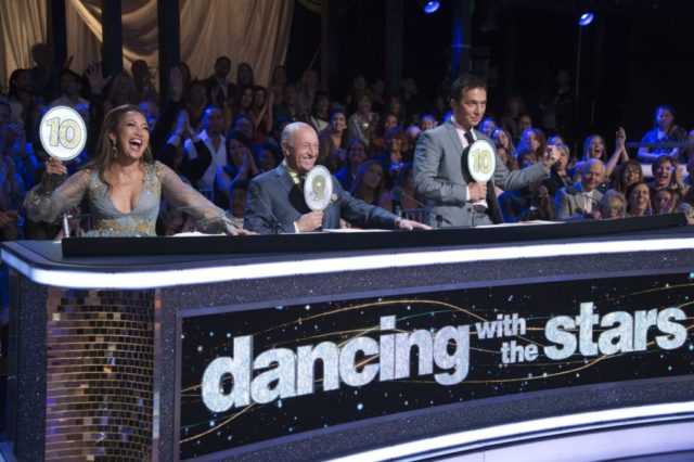 """DANCING WITH THE STARS - """"Trios Night"""" - The 10 remaining celebrities discover that two may be company, but three is definitely not a crowd as former show stars, as well as some newbies, join the couples for a special Trios Night, on """"Dancing with the Stars,"""" live on MONDAY, OCT. 15 (8:00-10:00 p.m. EDT), on The ABC Television Network. (ABC/Eric McCandless) CARRIE ANN INABA, LEN GOODMAN, BRUNO TONIOLI"""