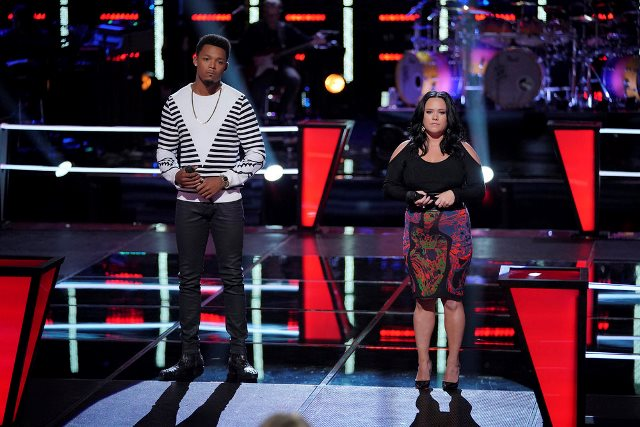 THE VOICE -- ?Battle Rounds? Episode 1508 -- Pictured: (l-r) Mike Parker, Natasia Greycloud -- (Photo by: Tyler Golden/NBC)