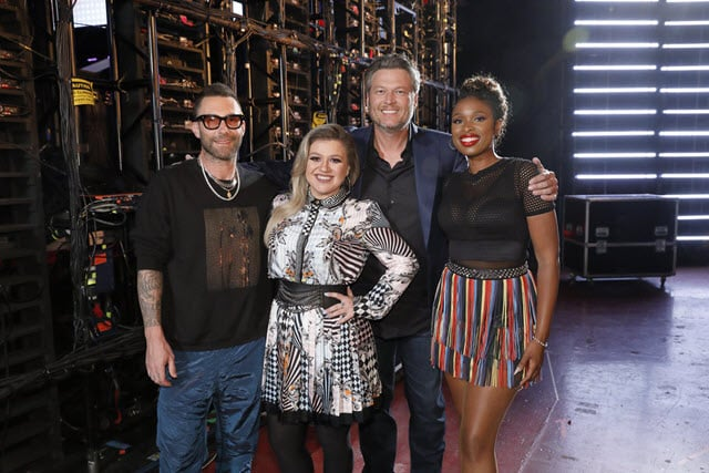"THE VOICE -- ""Knockout Rounds"" Episode 1511 -- Pictured: (l-r) Adam Levine, Kelly Clarkson, Blake Shelton, Jennifer Hudson -- (Photo by: Trae Patton/NBC)"