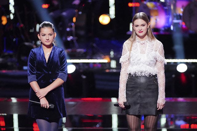 "THE VOICE -- ""Knockout Rounds"" Episode 1512 -- Pictured: (l-r) Abby Cates, Claire Dejean -- (Photo by: Tyler Golden/NBC)"