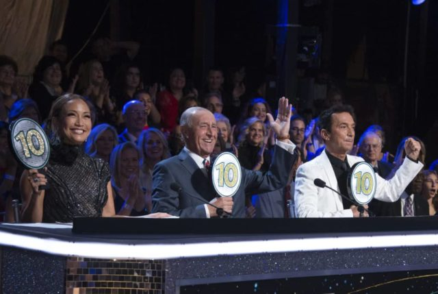 """DANCING WITH THE STARS - """"Semi-Finals"""" - The six remaining couples advance to the """"Semi-Finals"""" as the competition heats up in anticipation of next week's crowning of the coveted Mirrorball trophy on """"Dancing with the Stars,"""" live on MONDAY, NOV. 12 (8:00-10:00 p.m. EST), on The ABC Television Network. (ABC/Eric McCandless) CARRIE ANN INABA, LEN GOODMAN, BRUNO TONIOLI"""