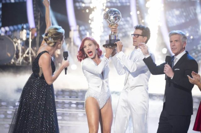 """DANCING WITH THE STARS - """"Finale"""" - After weeks of stunning competitive dancing, the final four couples advance to the season finale of """"Dancing with the Stars,"""" live, MONDAY, NOV. 19 (8:00-10:00 p.m. EST), on The ABC Television Network. (ABC/Eric McCandless) ERIN ANDREWS, SHARNA BURGESS, BOBBY BONES, TOM BERGERON"""