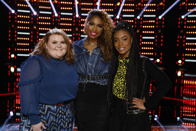 "THE VOICE -- ""Live Top 13 Results"" Episode 1515B -- Pictured: (l-r) Makenzie Thomas, Jennifer Hudson, Kennedy Holmes -- (Photo by: Trae Patton/NBC)"