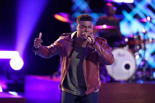 "THE VOICE -- ""Live Top 11"" Episode 1516A -- Pictured: Kirk Jay -- (Photo by: Tyler Golden/NBC)"
