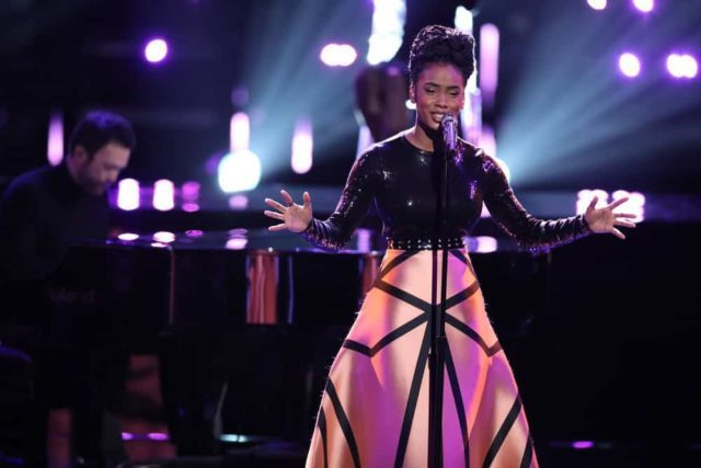 """THE VOICE -- """"Live Top 11"""" Episode 1516A -- Pictured: Kennedy Holmes -- (Photo by: Tyler Golden/NBC)"""
