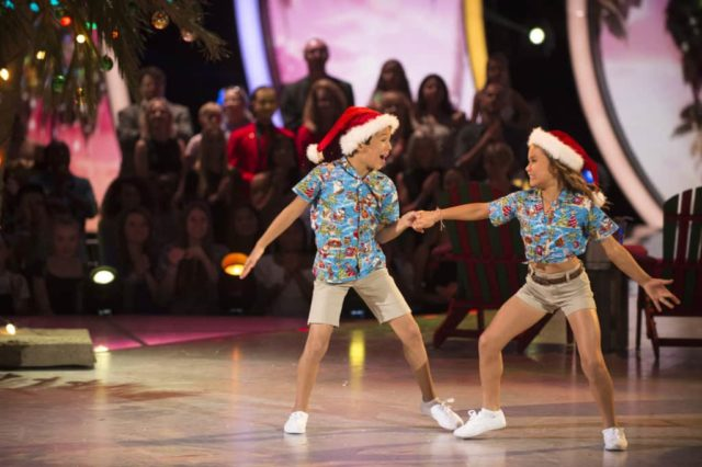 "DANCING WITH THE STARS: JUNIORS - ""The Finale (Holiday Special)"" - In a stunning surprise at the end of last week's episode, there was no elimination at the end of the night, so the four semi-finalist kid couples have all advanced to the finals on the season finale of ""Dancing with the Stars: Juniors,"" SUNDAY, DEC. 9 (8:00-9:00 p.m. EST), on The ABC Television Network. (ABC/Eric McCandless) JT CHURCH, SKY BROWN"