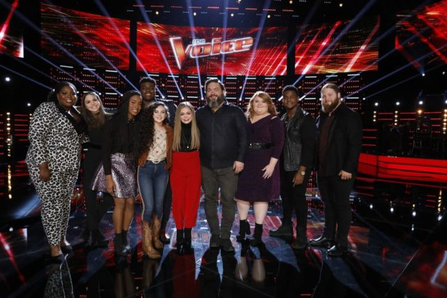 "THE VOICE -- ""Live Top 11 Results"" Episode 1516B -- Pictured: (l-r) Kymberli Joye, Reagan Strange, Kennedy Holmes, Kirk Jay, Chevel Shepherd, Sarah Grace, Dave Fenley, Makenzie Thomas, DeAndre Nico, Chris Kroeze -- (Photo by: Trae Patton/NBC)"