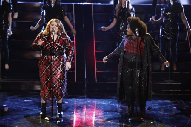 """THE VOICE -- """"Live Semi Finals"""" Episode 1518A -- Pictured: (l-r) MaKenzie Thomas, Kymberli Joye -- (Photo by: Tyler Golden/NBC)"""