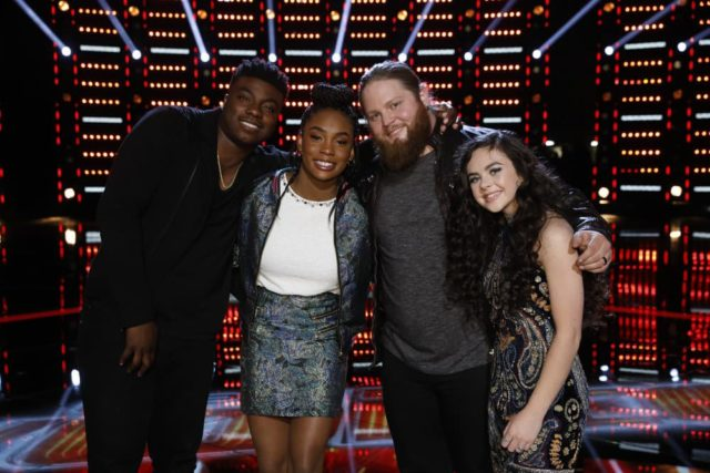 """THE VOICE -- """"Live Semi Finals Results"""" Episode 1518B -- Pictured: (l-r) Kirk Jay, Kennedy Holmes, Chris Kroeze, Chevel Shepherd -- (Photo by: Trae Patton/NBC)"""