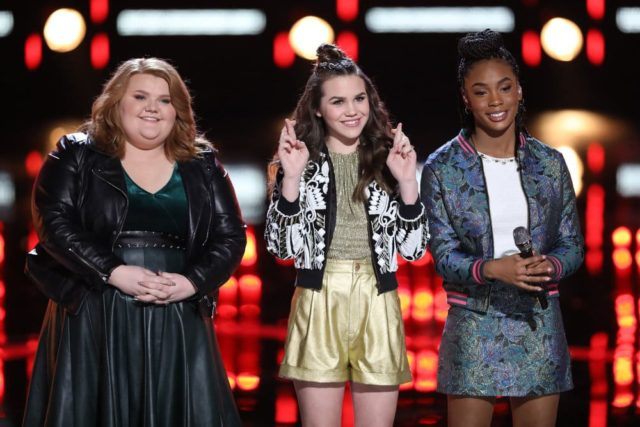 """THE VOICE -- """"Live Semi Finals Results"""" Episode 1518B -- Pictured: (l-r) MaKenzie Thomas, Reagan Strange, Kennedy Holmes -- (Photo by: Tyler Golden/NBC)"""