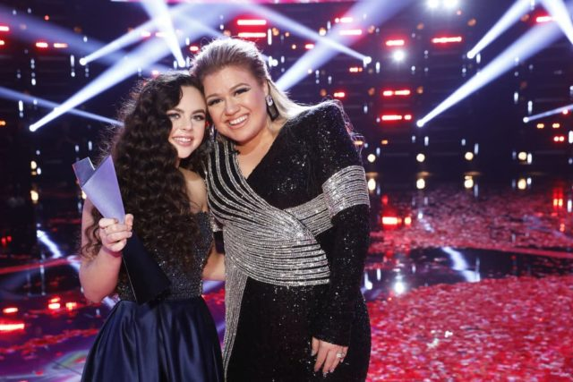 "THE VOICE -- ""Live Finale Results"" Episode 1519B -- Pictured: (l-r) Chevel Shepherd, Kelly Clarkson -- (Photo by: Trae Patton/NBC)"