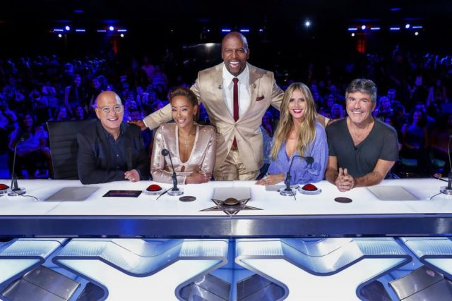"AMERICA'S GOT TALENT: THE CHAMPIONS -- ""Champions One"" Episode 101 -- Pictured: (l-r) Howie Mandel, Mel B, Terry Crews, Heidi Klum, Simon Cowell -- (Photo by: Trae Patton/NBC)"