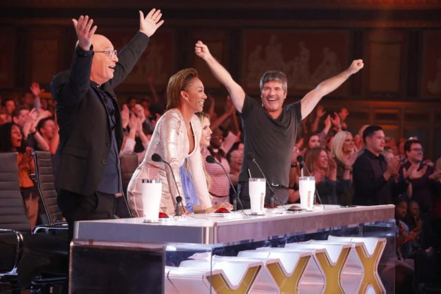 "AMERICA'S GOT TALENT: THE CHAMPIONS -- ""Champions One"" Episode 101 -- Pictured: (l-r) Howie Mandel, Mel B, Heidi Klum, Simon Cowell -- (Photo by: Trae Patton/NBC)"