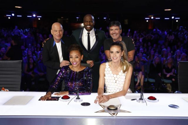 """AMERICA'S GOT TALENT: THE CHAMPIONS -- """"The Champions Four"""" Episode 104 -- Pictured: (l-r) Howie Mandel, Mel B, Terry Crews, Heidi Klum, Simon Cowell -- (Photo by: Trae Patton/NBC)"""