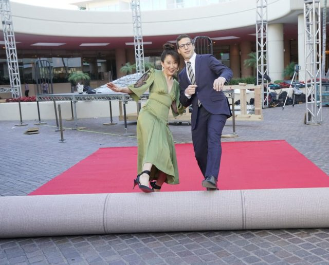 76th ANNUAL GOLDEN GLOBE AWARDS -- Pictured: (l-r) Sandra Oh, Host of the 76th Annual Golden Globe Awards; Andy Samberg, Host of the 76th Annual Golden Globe Awards at the Beverly Hilton Hotel on January 3, 2019 -- (Photo by: Paul Drinkwater/NBC)