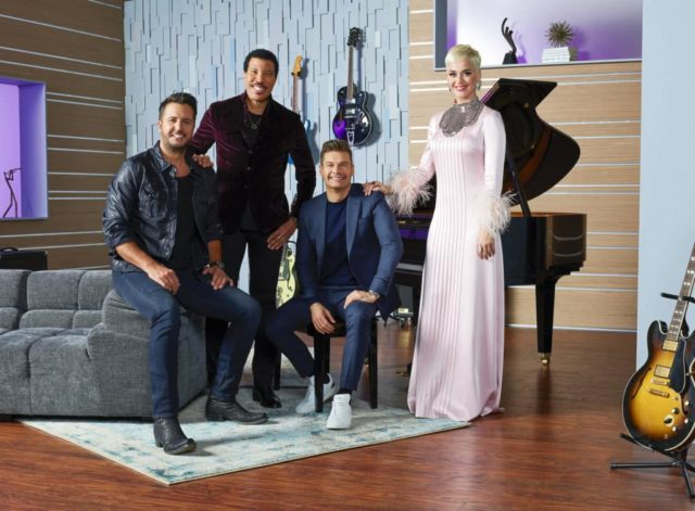 "AMERICAN IDOL - ABC's ""American Idol"" host Ryan Seacrest with judges Lionel Richie, Katy Perry and Luke Bryan. (ABC/Craig Sjodin)"