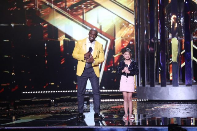 "AMERICA'S GOT TALENT: THE CHAMPIONS -- ""The Champions Finals"" Episode 106 -- Pictured: (l-r) Terry Crews, Angelica Hale -- (Photo by: Jordin Althaus/NBC)"