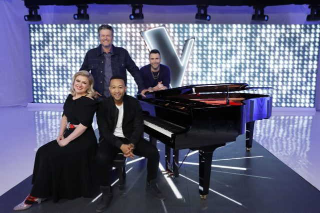 THE VOICE -- Season 16 -- Pictured: (l-r) Kelly Clarkson, Blake Shelton, John Legend, Adam Levine -- (Photo by: Trae Patton/NBC)