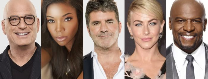 "AMERICA""S GOT TALENT -- Season: 14 -- Pictured: (l-r) Howie Mandel, (Photo by: Andrew Eccles/NBC); Gabrielle Union photo provided by Gabrielle Union; Simon Cowell, photo by Syco Entertainment; Julianne Hough photo by J. Merritt/Getty Images; Terry Crews, (Photo by: Chris Haston/NBC)"