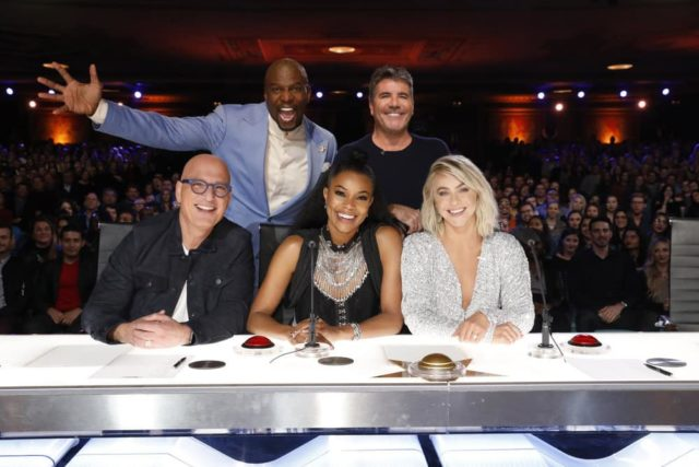 "AMERICA'S GOT TALENT -- ""Auditions"" -- Pictured: (l-r) Howie Mandel, Terry Crews, Gabrielle Union, Simon Cowell, Julianne Hough -- (Photo by: Trae Patton/NBC)"