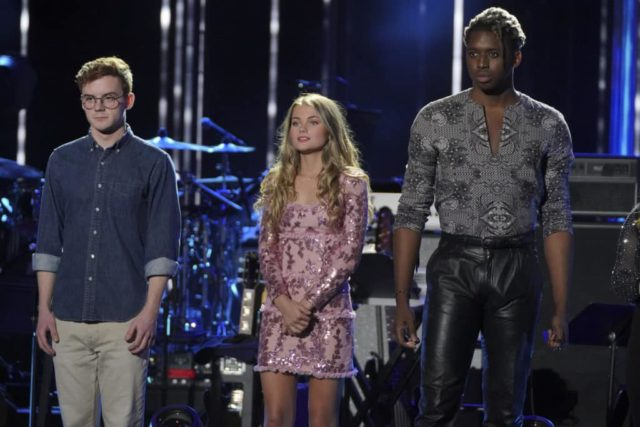 "AMERICAN IDOL - ""210 (All-Star Duets)"" - Ten of the Top 20 finalists perform duets with all-star celebrity partners from The Wiltern in Los Angeles, as the search for America's next superstar continues on The ABC Television Network, SUNDAY, APRIL 7 (8:00-10:01 p.m. EDT), streaming and on demand. Following the performances and during a shocking elimination, the ""American Idol"" judges will determine which seven finalists will advance to the Top 14 and get the chance to perform for America's vote. (ABC/Eric McCandless) WALKER BURROUGHS, RILEY THOMPSON, UCHE"