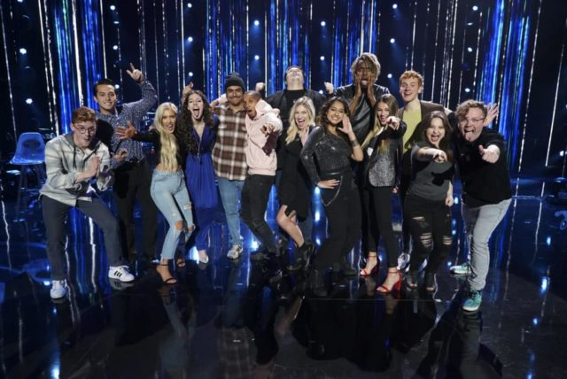 "AMERICAN IDOL - ""211 (All-Star Duets)"" - The remaining 10 contestants of the Top 20 perform duets with all-star celebrity partners from The Wiltern in Los Angeles, as the search for America's next superstar continues on The ABC Television Network, MONDAY, APRIL 8 (8:00-10:00 p.m. EDT), streaming and on demand. Following the performances, the tension will rise as the remaining 10 contestants find out who has made the last seven spots, rounding out the Top 14 during a final elimination that will leave audiences stunned. (ABC/Eric McCandless) WALKER BURROUGHS, LAINE HARDY, LACI KAYE BOOTH, EVELYN CORMIER, ALEJANDRO ARANDA, DIMITRIUS GRAHAM, WADE COTA, ASHLEY HESS, ALYSSA RAGHU, UCHE, RILEY THOMPSON, MADISON VANDENBURG, EDDIE ISLAND"