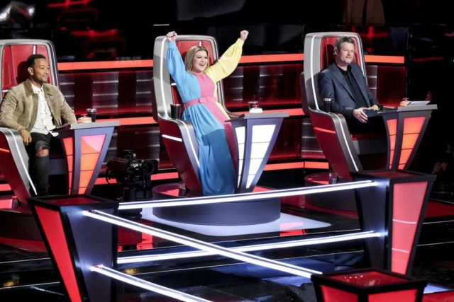 "THE VOICE -- ""Battle Rounds"" -- Pictured: John Legend, Kelly Clarkson, Blake Shelton -- (Photo by: Trae Patton/NBC)"