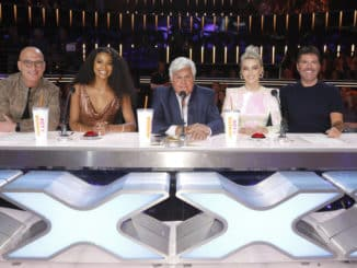 "AMERICA'S GOT TALENT -- ""Judge Cuts"" -- Pictured: (l-r) Howie Mandel, Gabrielle Union, Jay Leno, Julianne Hough, Simon Cowell -- (Photo by: Trae Patton/NBC)"