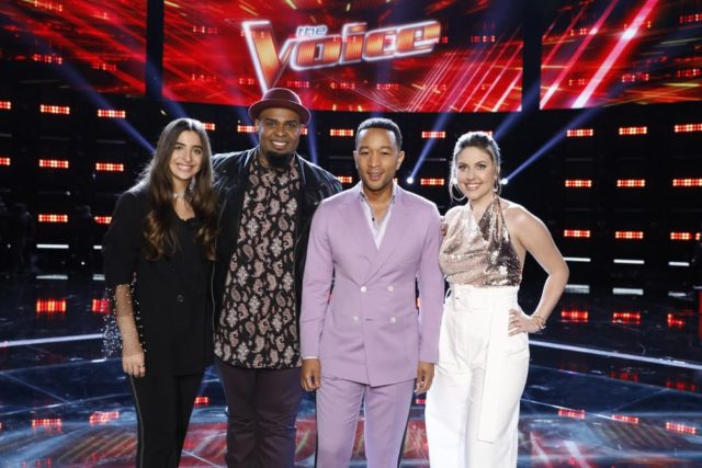 "THE VOICE -- ""Live Top 24 Results"" Episode 1613B -- Pictured: (l-r) Celia Babini, Shawn Sounds, John Legend, Maelyn Jarmon -- (Photo by: Trae Patton/NBC)"