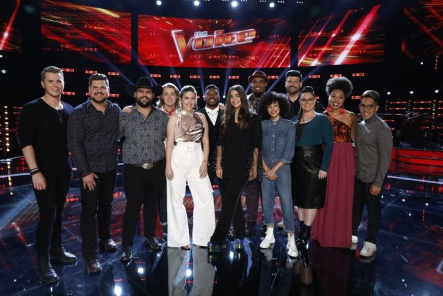 "THE VOICE -- ""Live Top 24 Results"" Episode 1613B -- Pictured: (l-r) Gyth Rigdon, Dexter Roberts, Andrew Sevener, Carter Lloyd Horne, Maelyn Jarmon, LB Crew, Celia Babini, Shawn Sounds, Mari, Rod Stokes, Kim Cherry, Oliv Blu, Jej Vinson -- (Photo by: Trae Patton/NBC)"