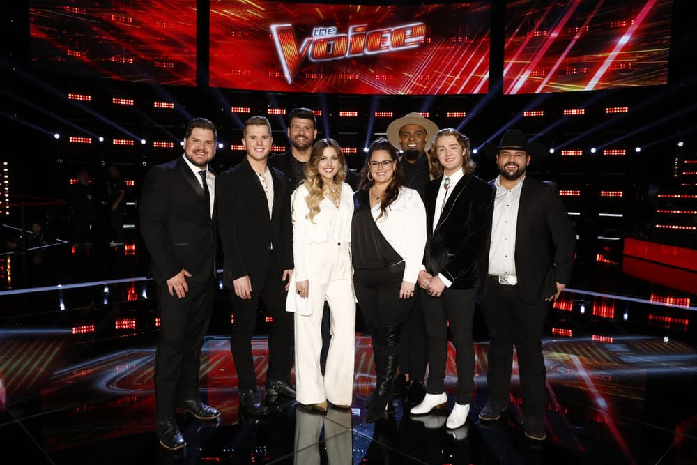 The Voice Season 16 Top 8 Pictured: (l-r) Dexter Roberts, Gyth Rigdon, Rob Stokes, Madelyn Jarmon, Kim Cherry, Shawn Sounds, Carter Lloyd Horne, Andrew Sevener