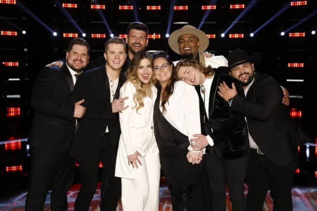 """THE VOICE -- """"Live Top 13 Results"""" Episode 1614B -- Pictured: (l-r) Dexter Roberts, Gyth Rigdon, Rob Stokes, Madelyn Jarmon, Kim Cherry, Shawn Sounds, Carter Lloyd Horne, Andrew Sevener -- (Photo by: Trae Patton/NBC)"""