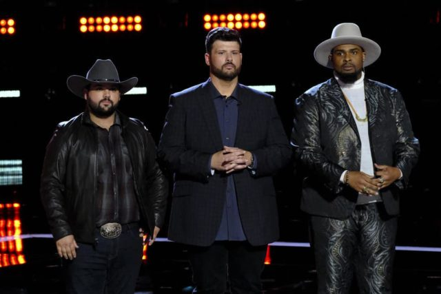 "THE VOICE -- ""Live Top 8 Results"" Episode 1615B -- Pictured: (l-r) Andrew Sevener, Rod Stokes, Shawn Sounds -- (Photo by: Trae Patton/NBC)"