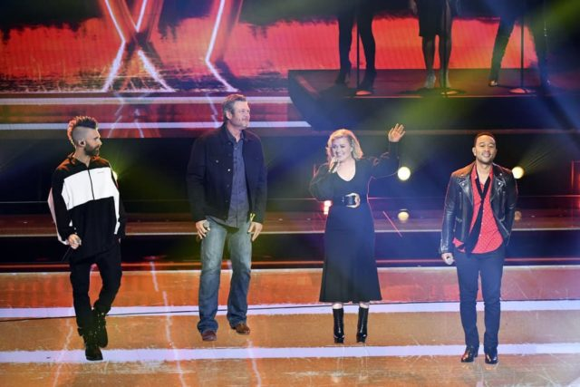 """NBCUNIVERSAL UPFRONT EVENTS -- 2019 NBCUniversal Upfront in New York City on Monday, May 13, 2019 -- Pictured: (l-r) Adam Levine, Blake Shelton, Kelly Clarkson, and John Legend, """"The Voice"""" on NBC -- (Photo by: Charles Sykes/NBCUniversal)"""