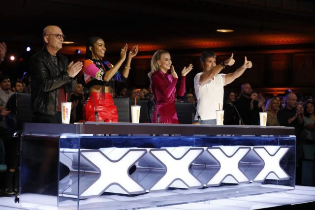 "AMERICA'S GOT TALENT -- ""Auditions 3"" Episode 1403 -- Pictured: (l-r) Howie Mandel, Gabrielle Union, Julianne Hough, Simon Cowell -- (Photo by: Trae Patton/NBC)"