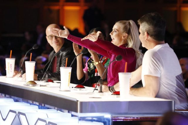 "AMERICA'S GOT TALENT -- ""Auditions 5"" Episode 1405 -- Pictured: (l-r) Howie Mandel, Gabrielle Union, Julianne Hough, Simon Cowell -- (Photo by: Trae Patton/NBC)"