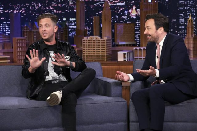 THE TONIGHT SHOW STARRING JIMMY FALLON -- Episode 1080 -- Pictured: (l-r) Singer-songwriter Ryan Tedder during an interview with host Jimmy Fallon on June 13, 2019 -- (Photo by: Andrew Lipovsky/NBC)