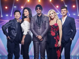 THE MASKED SINGER: L-R: Ken Jeong, Nicole Scherzinger, Nick Cannon, Jenny McCarthy and Robin Thicke in THE MASKED SINGER premiering Wednesday, Jan. 2 (9:00-10:00 PM ET/PT) on FOX. © 2019 FOX Broadcasting. CR: Michael Becker / FOX.